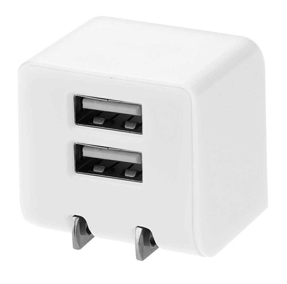 グリーンハウス 12W 2.4A 2ポート USB-AC充電器 ホワイト GH-ACU2D-WH[スマホ][iPhone・ipad][定形外郵便、送料無料、代引不可]