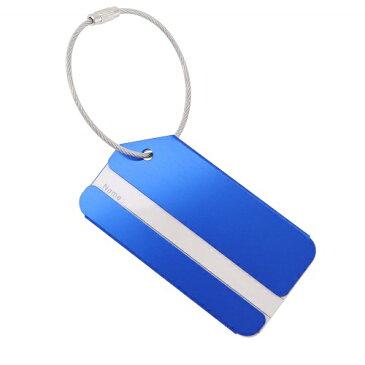 アルミ ネームタグ 荷物タグ トラベルバッグタグ スーツケースタグ 旅行用 ラゲッジタグ (ブルー)[定形外郵便、送料無料、代引不可]