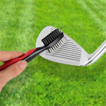ゴルフクラブ ブラシ 溝 洗浄 掃除 クリーナー メンテナンス ゴルフ ウェッジ アイアン (レッド)[定形外郵便、送料無料、代引不可]