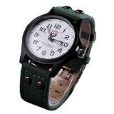 腕時計 時計 メンズ アナログクォーツウォッチ ブ シンプル カジュアル ミリタリー 防傷 カレンダー (ホワイト文字盤 グリーンレザーストラップ)[定形外郵便、送料無料、代引不可]