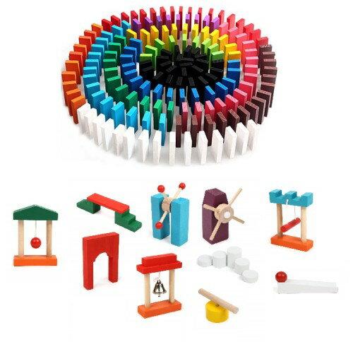 ドミノ倒し 120個 +ドミノギミック10種セット ドミノ 木製 木のおもちゃ 知育玩具[送料無料(一部地域を除く)]