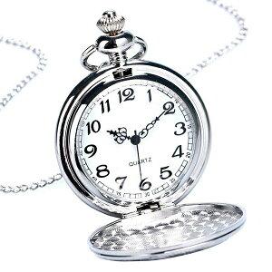 懐中時計 丸型薄型 アラビア数字 シルバー ビンテージ アンティーク風 おしゃれ メンズ レディース[定形外郵便、送料無料、代引不可]