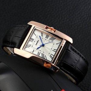 SKMEI 腕時計 ブラック レディース アナログ ビジネス 革ベルト レクタンギュラーケース  f0510-107a[メール便発送、、代引不可][時計][ギフト]