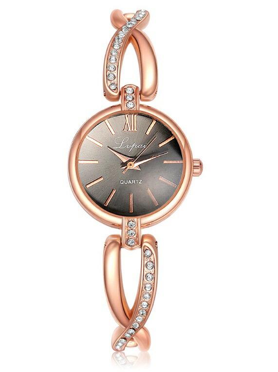 ブレスレット風 レディース腕時計 《ゴールドブラック》 おしゃれ 時計【YDKG-kd】【smtb-KD】[定形外郵便、、代引不可]