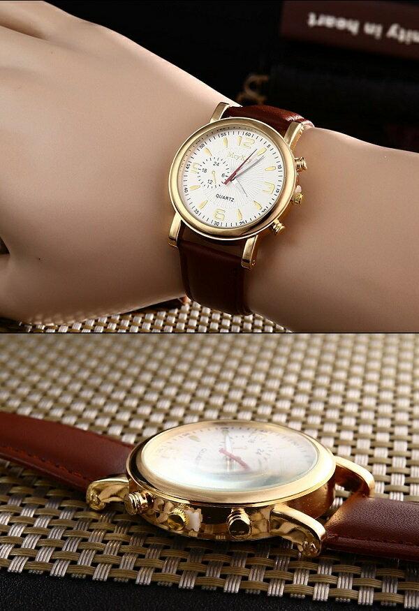 メンズ アナログクォーツウォッチ #54 ブラック文字盤/ブラックレザーストラップ 高級感 シンプル ビジネス 腕時計[メール便発送、、代引不可]【YDKG-kd】【smtb-KD】[時計][ギフト]