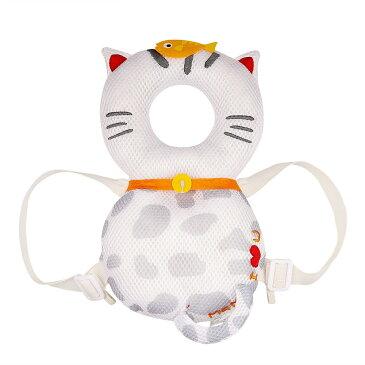赤ちゃん ごっつん防止 やわらか リュック 《ホワイト》 かわいい 猫 ネコ 子供 キッズ 乳幼児用 頭部 保護 怪我防止[メール便発送、送料無料、代引不可]【YDKG-kd】【smtb-KD】