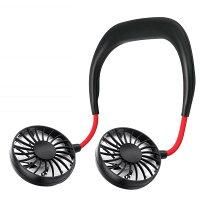 首掛け扇風機 3枚羽タイプ 《ブラック》 360度回転 USB扇風機【smtb-KD】[定形外郵便、送料無料、代引不可]