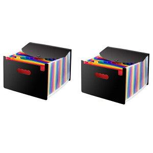 A4ファイルボックス 24ポケット 《2個セット》 書類ケース ドキュメントスタンド ファイルボックス[送料無料(一部地域を除く)]