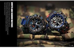 SMAEL 腕時計 《レッド》 ミリタリー 迷彩風 アナデジ 腕時計 メンズ 男性 アラーム クロノグラフ スポーツ ウォッチ[メール便発送、、代引不可]【YDKG-kd】【smtb-KD】