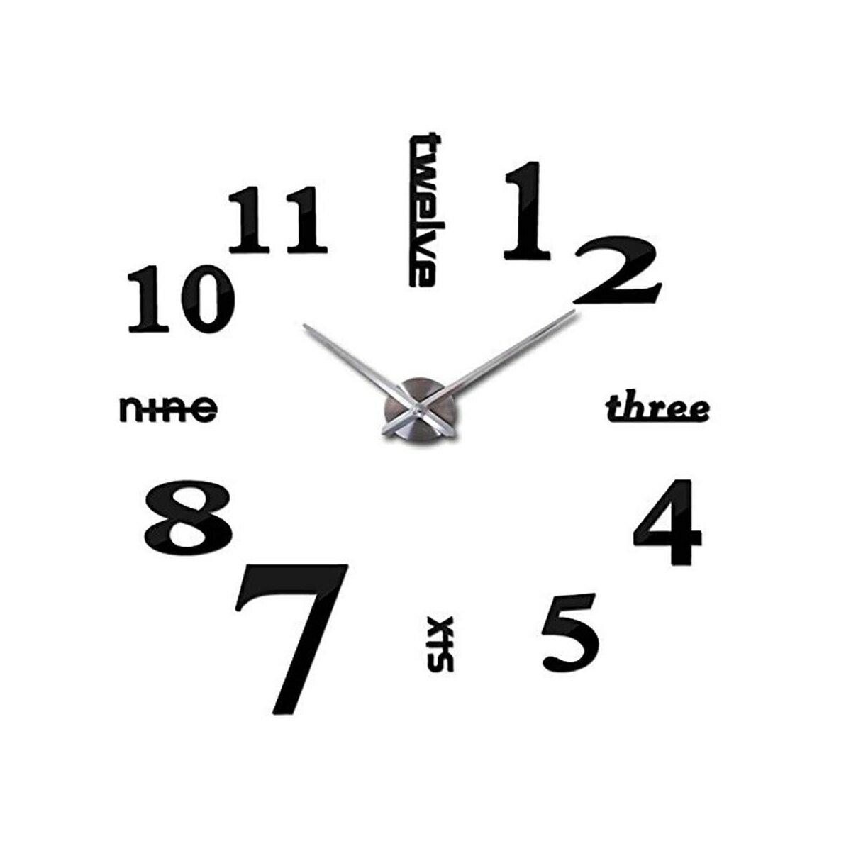 DIY 壁時計 ウォールクロック シルバー針×ブラック文字 シンプル おしゃれ 壁掛け時計[新生活][時計][ギフト][送料無料(一部地域を除く)]