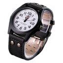 メンズ アナログクォーツウォッチ #05 ホワイト文字盤/ブラックレザーストラップ 腕時計 カジュアル ミ...