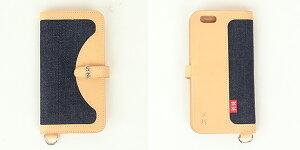 革蛸謹製×SKULLJEANS[a5]iPhone6スマホケースイタリアンレザースカルジーンズ赤タブ