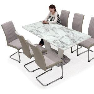 ダイニングテーブル 7点セット 6人用 6人掛け 大理石調 ダイニングセット ガラス テーブル 幅180cm 奥行き85cm ハイバックチェア カンティレバーチェア ホワイト 白 おしゃれ モダン 長方形 送