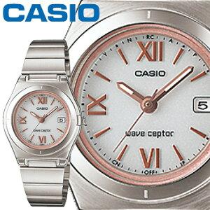 カシオウェーブセプター10DJレディースホワイト(ローマ数字)ステンレスバンドタフソーラー電波時計CASIOWaveCeptor
