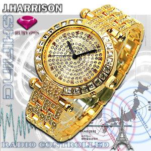 J.HARRISONジョンハリソン天然ルビー1石付シャーニング電池式電波時計メンズJH-088M