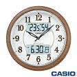カシオ ウェーブセプター 壁掛け電波時計 900FLJ (濃茶木調) 月・日・曜日表示 温湿度計付き ◆2016年モデル