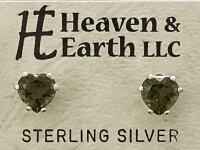 【Heaven&Earth社】【モルダバイト/ハート6mm】Silver925ピアス