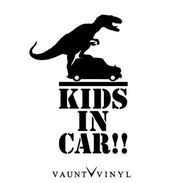 怪獣が乗ってる!? Kids (baby) in car カッティング ステッカー 恐竜 ティラノ T-REX ティラノサウルス / アウトドア ミリタリー デリカ D5 ジムニー ハスラー アルファード ステップワゴン / オリジナル シール / 吸盤 マグネット 非対応 10P05Aug17