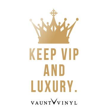 Keep Vip And Luxury ステッカー 切り文字 車 ステッカー シール ウインドウ サーフィン スーツケース アクセサリー スノー ボード / キープ カルム パロディ keep calm 王冠 クラウン / プリウス ワゴンR スティングレイ Nbox アルファード / 10P05Aug17
