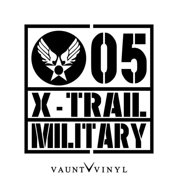 MILITARYX-TRAILエクストレイルカッティングステッカーエクストレイルt30t31t32nt31nt30後期グリルle