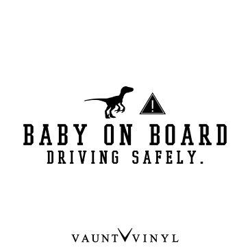 ラプトル BABY ON BOARD ステッカー 恐竜 ジュラシック ジュラ紀 車 シール baby in car ベビーインカー kids in car キッズインカー 子供が乗っています 赤ちゃんが乗っています 双子 吸盤 マグネット シンプル おしゃれ オシャレ お洒落 文字