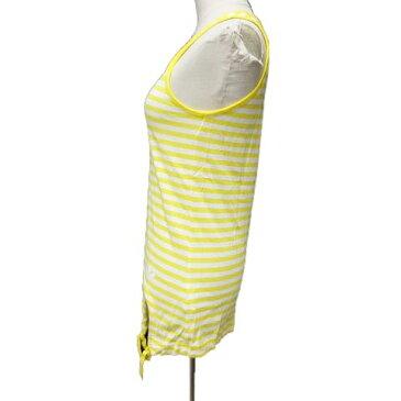 【中古】アディダス adidas タンクトップ ボーダー リボン カットソー L 黄 白/3 レディース 【ベクトル 古着】 191019 ベクトル マークスラッシュ
