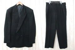 【DURBAN/ダーバン】 スーツ ダブル ジャケット スラックス パンツ ウール セットアップ 黒 前...