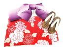 ショコラフィネローブ chocol raffine robe 浴衣 3点セット つくり帯 下駄 桐 ゴム底 花柄 赤 レ...