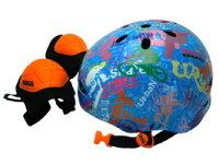 ラングスジュニアスポーツヘルメットブルーひじ・ひざ用のパッド付き108381【クレジットOK!セール期間限定】幼児キッズヘルメットラングスジャパン