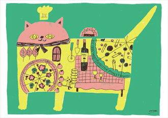 小組框架咖啡館風格室內見看到。 比薩餅貓帆布插畫 300 × 420 毫米時尚的內飾存儲貝爾共同