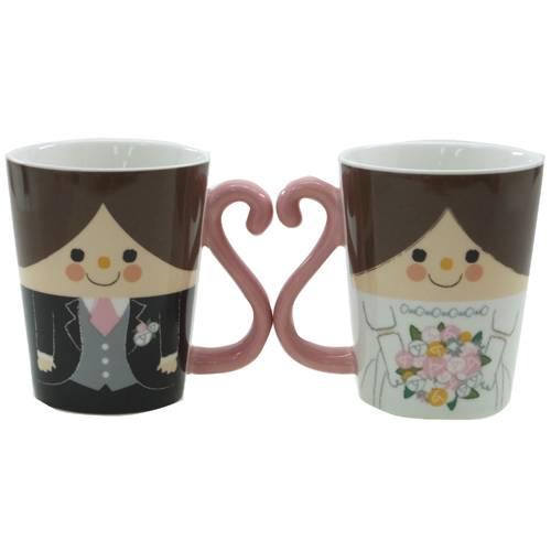 ペアマグカップル 陶器製マグカップ2個セット ハッピーウェディング 面白食器ギフト通販 プレゼント バースデー 誕生日ギフト 結婚祝い ベルコモ