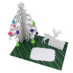 ウッドツリーカード ホワイト Xmas クリスマス グリーティングカード 北欧Xmasオーナメント