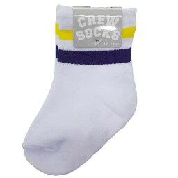 ベビークルーソックス 新生児足首靴下 2 LINE WHITE PURPLE YELLOW オクタニコーポレーション 10-13cm かわいい はじめてのくつした メール便可