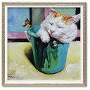 オイル ペイント アート キャットインバスケット S アートポスター 額付 動物画 可愛い 猫 インテリア 雑貨 取寄品