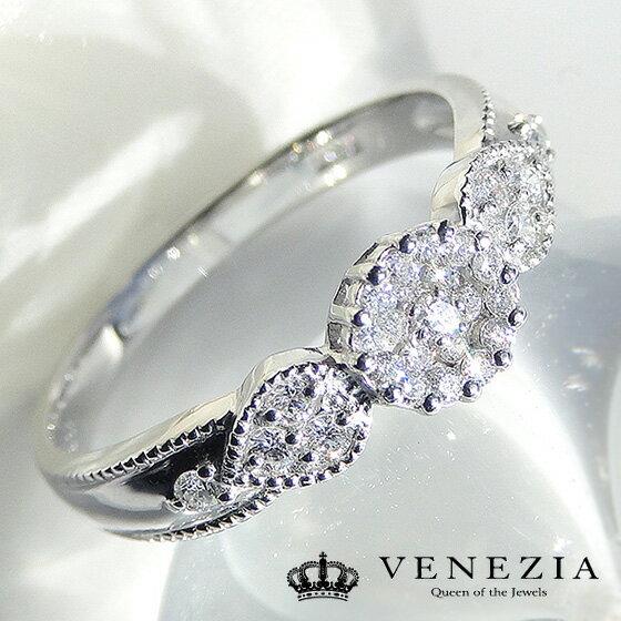 Pt900 クラシカルダイヤモンドリング/品質保証書付 プラチナ ダイヤ ダイアモンド アンティーク ミル打ち クラシック 指輪 レディース ジュエリー ギフト プレゼント diamond daiya ring platinum:VENEZIA