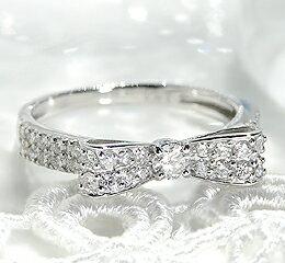 ★リボンリングのダイヤモンド!甘すぎず大人可愛くプラチナ!pt900 幸せリボンのダイヤモンド...