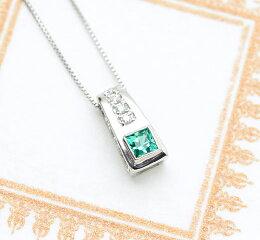 Pt900プリンセスカットエメラルドダイヤモンドペンダント
