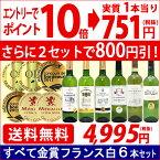 ▽(6大 ワインセット 2セット800円引)送料無料 ワイン 白ワインセットすべて金賞フランス辛口白激旨6本セット ^W0WK51SE^
