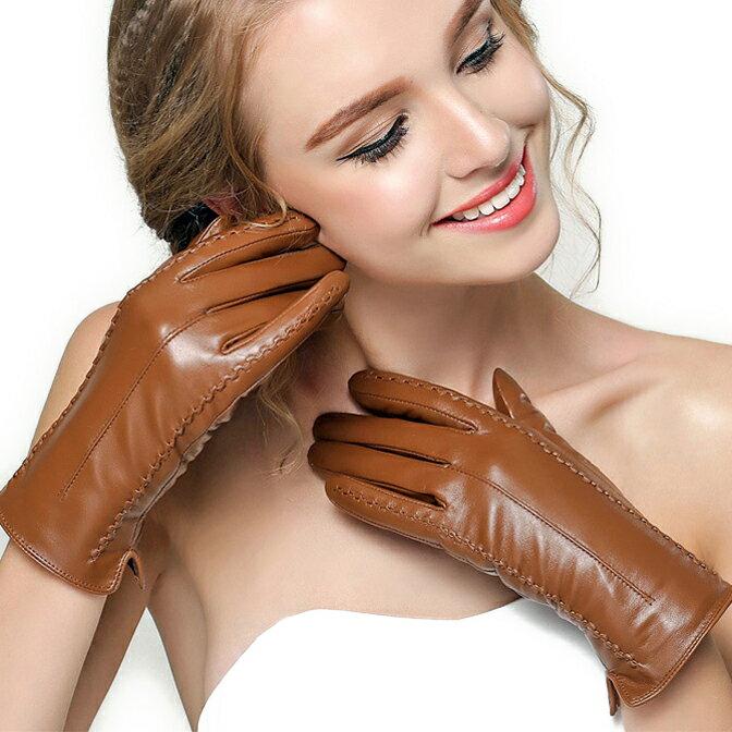 Veroman レディース レザー グローブ 手袋 本革 羊革 ナッパ シープスキン 裏起毛 スマホ対応 タッチパネル対応 ブラウン