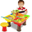 VeroMan 砂遊び 水遊び 子供 おもちゃ サンドテーブル 椅子付き 型抜きセット 室内 アウトドア 海水浴 ビーチ 四角型