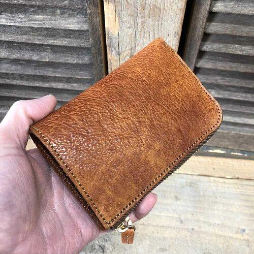 【MuddyJackSoup(マディージャックスープ)】オイルシボ牛革・切りっぱなしナチュラルレザーL/エル型ファスナー二つ折り財布(76153)メンズ/レディース