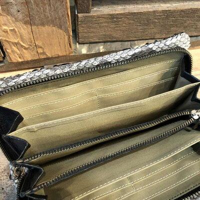 【国産・フーシフェルナーレ(FU-SIFERNALLE)】『G.B.PYTHON/ジービーパイソン』谷黒染め加工・パイソンレザー/ヘビ革ラウンドファスナー長財布(11558)メンズ/レディース