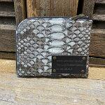 【国産・FU-SIFERNALLE】『G.B.PYTHON』谷黒染め加工・パイソンレザー/ヘビ革エル字型ファスナーHALFサイズウォレット財布(21576)メンズ/レディース