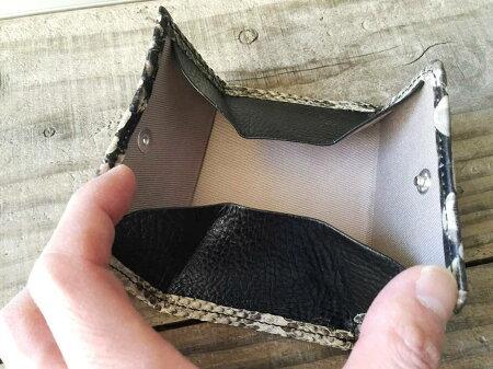 【国産・フーシフェルナーレ(FU-SIFERNALLE)】『Ez'sPYTHON/イージスパイソン』逆染め加工・日本製パイソンレザー/ヘビ革・BOX型小銭入れ・カード入れ・単札入れミニ財布(73336)メンズ/レディース