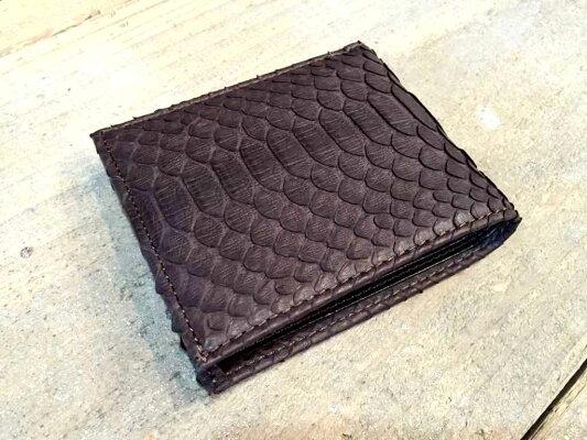 【国産・サンレミー(SunRemy)】『WASHEDPYTHON/ウォッシュドパイソン』オイル&ウォッシュ加工パイソンレザー/ヘビ革二つ折り財布(61391)メンズ