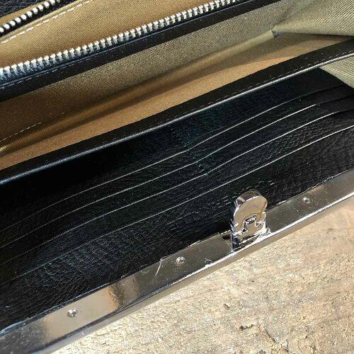 【国産・フーシフェルナーレ(FU-SIFERNALLE)】『PEARLPYTHON/パールパイソン』パール箔加工・日本製パイソンレザー/ヘビ革・口金オコシ留め具付き長財布(01106)レディース