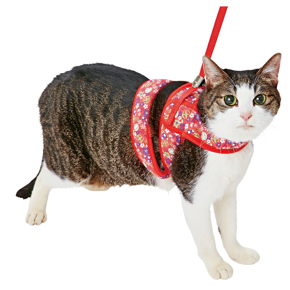 ペティオ 猫小町 ソフトハーネスリード まりレッド S