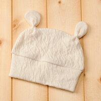 純国産綿さくらコットン『ベビーくまさん帽子』《純国産/日本製/奈良/大和高田・葛城/手摘み/有機栽培/手作り/保温/ナチュラル/きなり/肌に優しい/安心/安全/帽子》