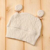 純国産綿さくらコットン『ベビーくまさん帽子』《日本製/奈良/大和高田・葛城/手摘み/有機栽培/手作り/帽子/保温/ナチュラル/きなり/肌に優しい/安心》