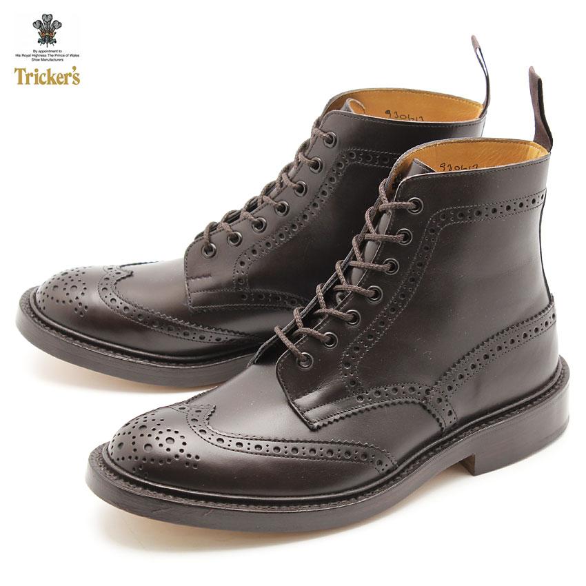 トリッカーズ(TRICKER'S)(TRICKERS) ストウ ダブルレザーソール エスプレッソバーニッシュ(TRICKER'S 5634 5 BROGUE BOOTS STOW) カントリー ブーツ メンズ(男性用):VIA TORINO インポートブランド